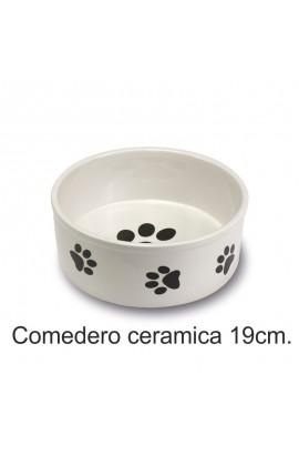 COMEDERO CERAMICA HUELLAS 19 CM.